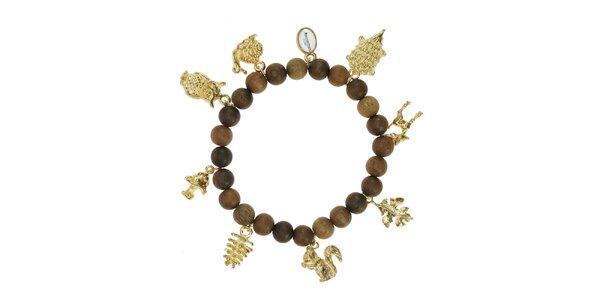 Dámsky dreveným náramok Escapulario so zlatými zvieratkami