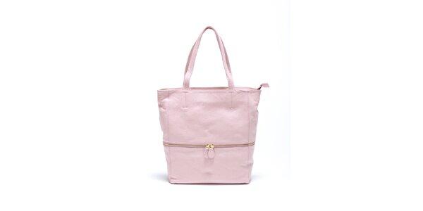 Dámska jemne ružová kožená kabelka Carla Ferrari
