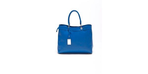 Dámska modrá kožená kabelka s visačkou Carla Ferrari
