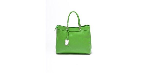 Dámska hráškovo zelená kožená kabelka Carla Ferrari