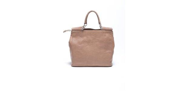 Dámska béžová retro kabelka s popruhom Carla Ferrari