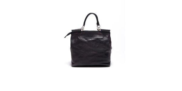 Dámska čierna retro kabelka s popruhom Carla Ferrari