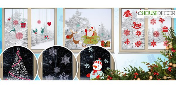 Krásne vianočné samolepky na sklo s možnosťou opätovného nalepenia