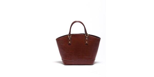 Dámska gaštanovo hnedá kožená kabelka Carla Ferrari