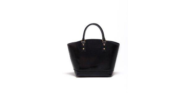 Dámska čierna kožená kabelka Carla Ferrari