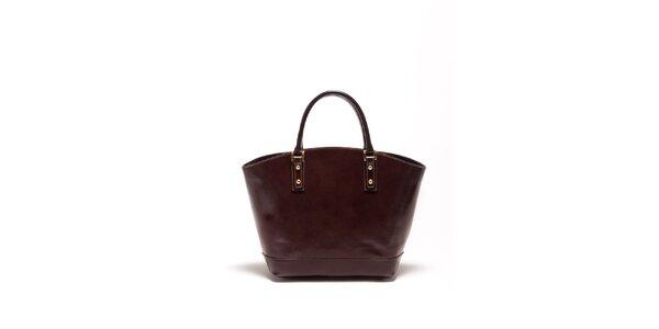 Dámska tmavo hnedá kožená kabelka Carla Ferrari