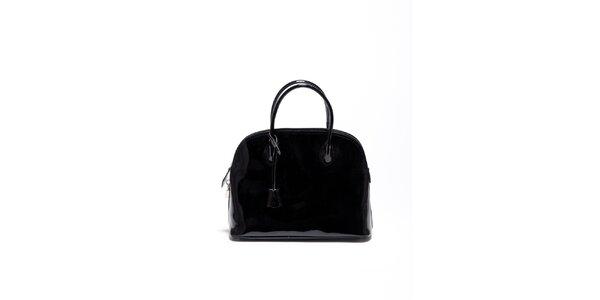Dámska čierna lakovaná kabelka Carla Ferrari