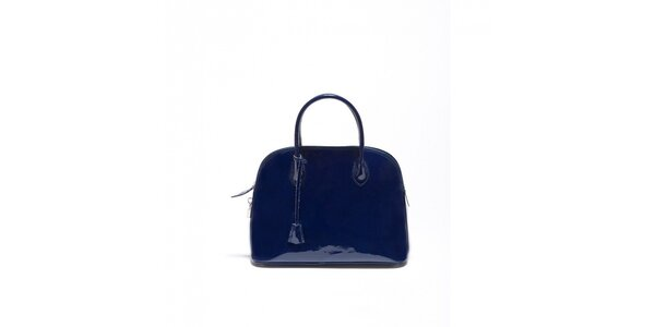 Dámska kobaltovo modrá lakovaná kabelka Carla Ferrari