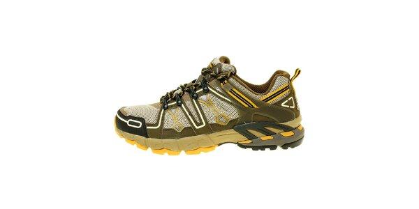 Dámske outdoorové pieskovo-zelené trekové topánky Trimm
