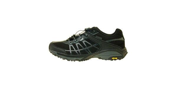Pánske čierne trekové topánky s modrým detailom Trimm