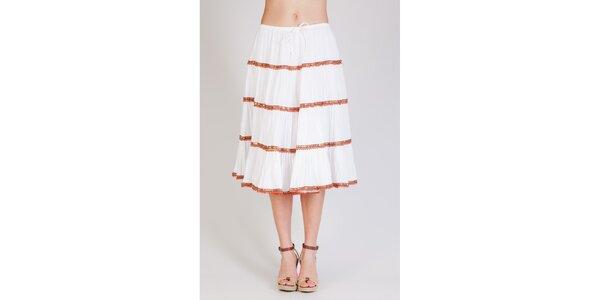 Dámska biela naberaná sukňa Tonala s korálkovými detailami