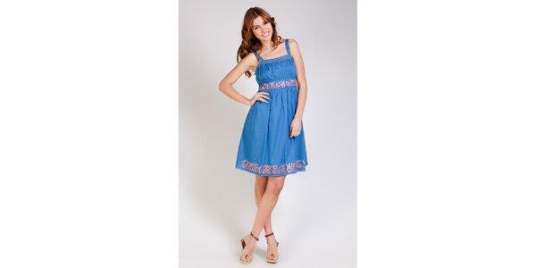 Dámske modré šaty Tonala s výšivkou