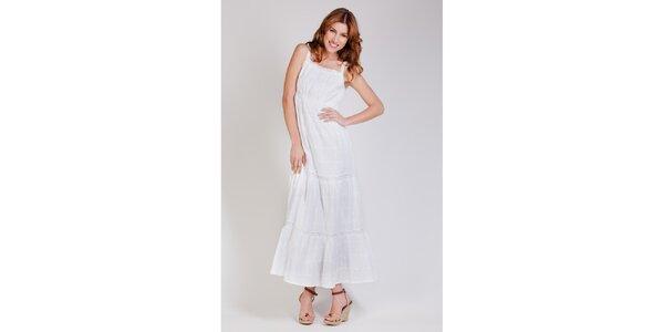 Dámske dlhé biele čipkové šaty Tonala
