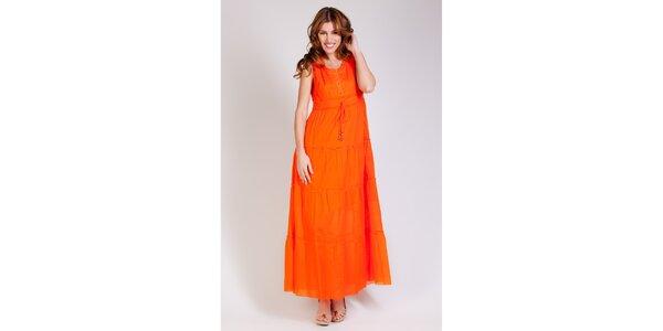 Dámske dlhé oranžové šaty Tonala