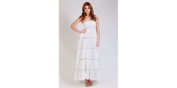 Dámske dlhé biele šaty Tonala so zlatými flitrami