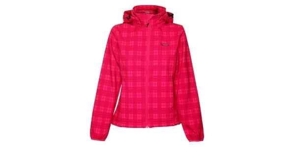 Dámska ružová kockovaná softshellová bunda Envy