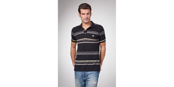 Pánske čierne polo tričko s šedými a žltými prúžkami Bendorff