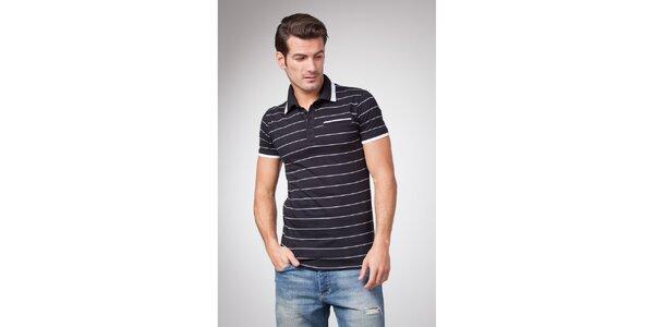 Pánske čierne polo tričko s bielymi prúžkami Bendorff