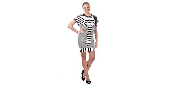 Dámske čiernobiele prúžkované šaty Killah