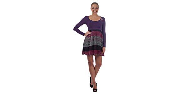 Dámske fialové šaty Killah s veselými bodkami