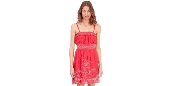 Dámske ružové šaty Rosalita McGee s kvetinovou výšivkou