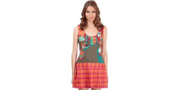 Dámske oranžovo-zelené šaty Rosalita McGee s potlačou