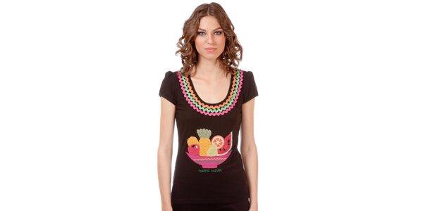 Dámske hnedé tričko s ovocnou potlačou Rosalita McGee