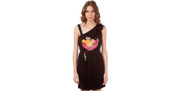 Dámske hnedé šaty s volánom a ovocnou potlačou Rosalita McGee