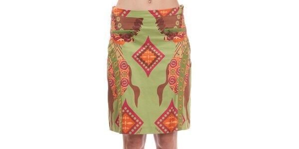 Dámska zelená sukňa s potlačou koníkov Rosalita McGee