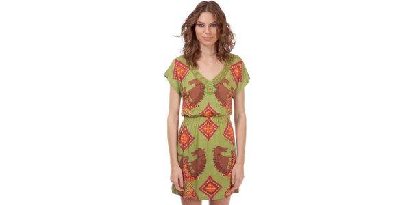 Dámske zelené šaty s potlačou koníkov Rosalita McGee