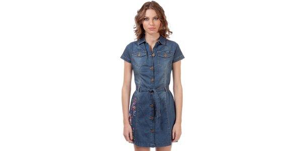 Dámske džínové propínací šaty s vyšívanou aplikáciou Rosalita McGee