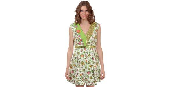 Dámske zeleno-biele šaty s kvetinovým vzorom Rosalita McGee