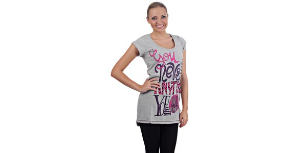 Dámske svetlo šedé melírované tričko Killah s potlačou