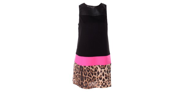 Dámske čierne šaty Baby Phat s leopardím vzorom