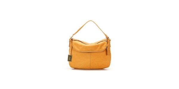 Dámska pomarančová kožená kabelka s visačkou Abbacino