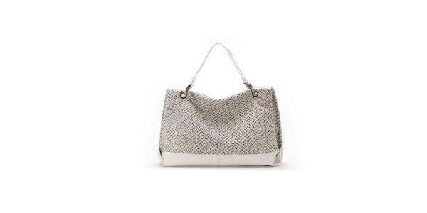 Dámska biela kabelka s originálnym perforovaním Abbacino