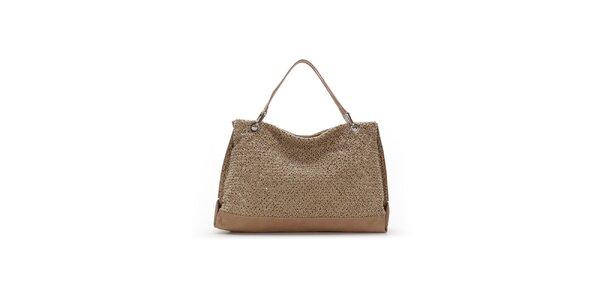 Dámska béžová kabelka s originálnym perforovaním Abbacino