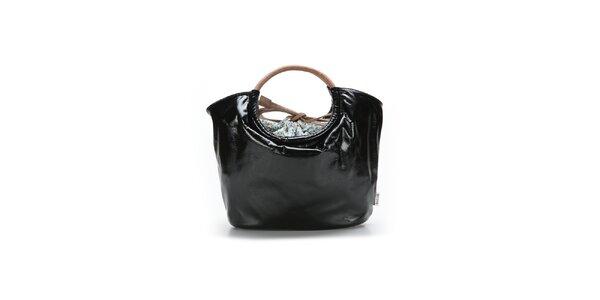 Dámska čierna lakovaná kabelka Abbacino