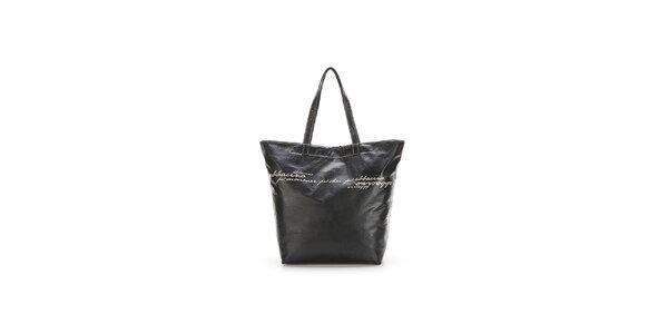 Dámska čierna kabelka so šedými nápismi Abbacino