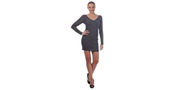 Dámske svetlo šedé úpletové šaty Killah