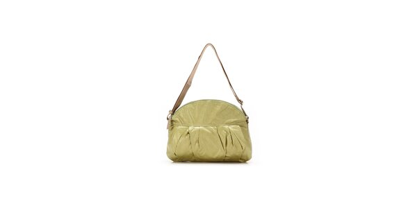 Dámska svetlo zelená kabelka s nastaviteľným béžovým popruhom