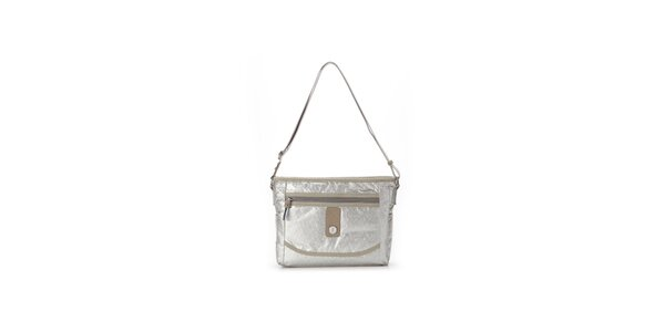 Dámska strieborná metalická kabelka s béžovými detailmi Abbacino
