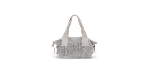 Dámska biela kožená kabelka s prepletaním Abbacino