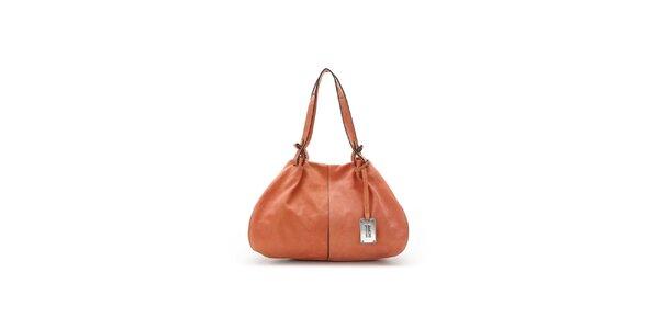 Dámska koralová kožená kabelka s čiernymi lemami Abbacino
