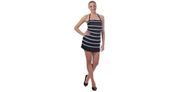 Dámske šedočierne prúžkované mini šaty Killah