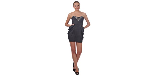Dámske tmavo šedé koktejlové šaty Killah