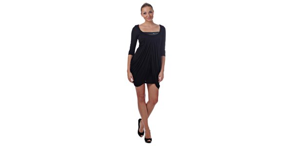 Dámske čierne dvojvrstvové šaty Killah