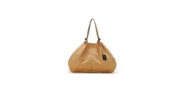 Dámska béžová kožená kabelka Abbacino