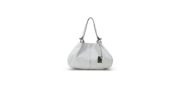 Dámska biela kožená kabelka s čiernymi lemami Abbacino