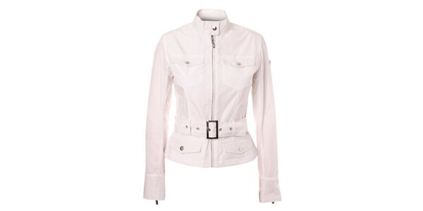 Dámsky biely kabátik so stojačikom a opaskom Refrigue